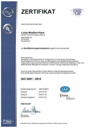 Luise-Maassen-Haus ISO Zerifikat 2019